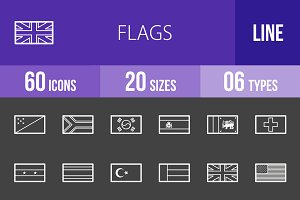 60 Flags Line Inverted Icons