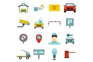 Parking icons set, flat style