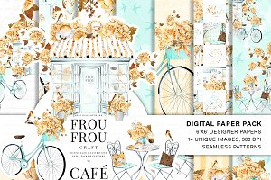 Coffee Digital Paper Pack Paris Cafe