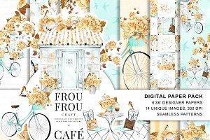 Coffee Digital Paper Pack Paris Cafe