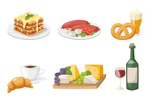 European breakfast cartoon vector