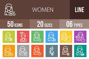 50 Women Line Multicolor Icons