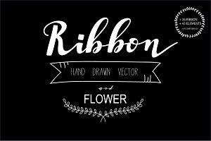 Hand drawn Ribbon and element