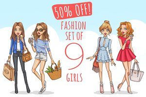 50%OFF! Fashion set of 9 girls