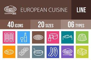 40 Cuisine Line Multicolor Icons