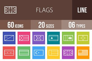 60 Flags Line Multicolor Icons