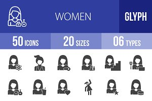 50 Women Glyph Icons