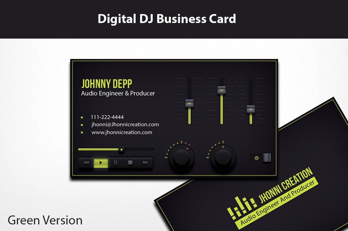 Music producer and dj business card business card templates music producer and dj business card business card templates creative market reheart Choice Image