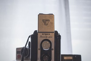 Set of 5 Photos of Vintage Cameras