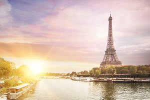 Eiffel Tower and river.
