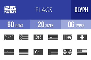 60 Flags Glyph Icons