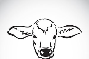 Vector of hand sketch a cow head.