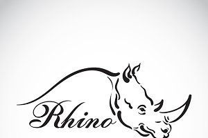 Vector of hand sketch a rhino head.