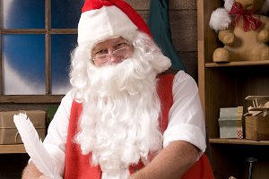 Santa Claus Sitting in His Workshop