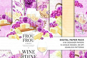 Wine Valentine Digital Paper Pack
