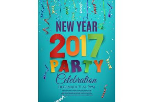 New Year 2017 party poster.
