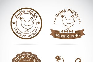 Vector of a hen label design.