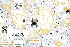 New Year Eve Watercolor Clip Art