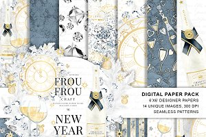 New Year Eve Digital Paper Pack