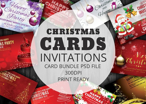 20 psd christmas cards bundle card templates creative market