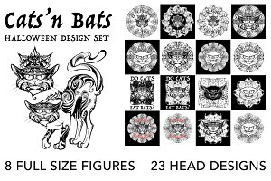 CATS 'N BATS halloween design set