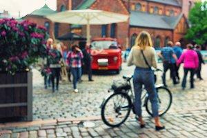 Dome Square. Riga. Blurry