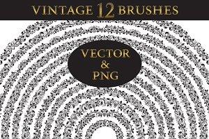 12 vintage floral brushes