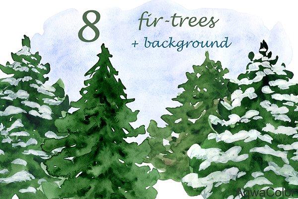 Fir-trees Watercolor Clipart