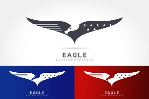Graceful eagle silhouette logo