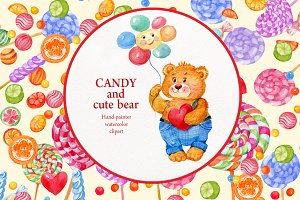 watercolor candy and Teddy bear