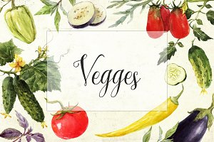 Watercolor Set of Vegetables