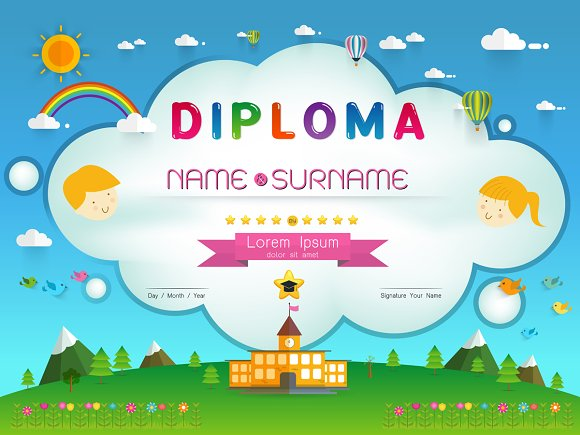 Certificate kids diploma Templates on Creative Market – Kids Certificate Templates