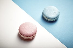 colorful macaron pink And blue macaron