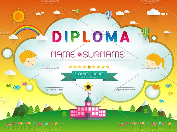 certificate kids diploma card templates creative market