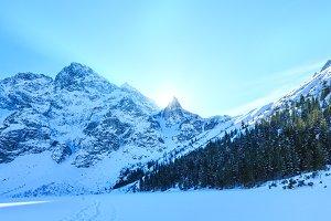Winter rocky mountain view.