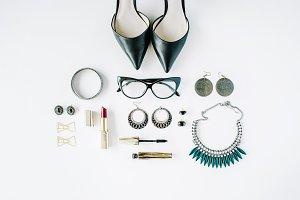 Feminine accessories collage