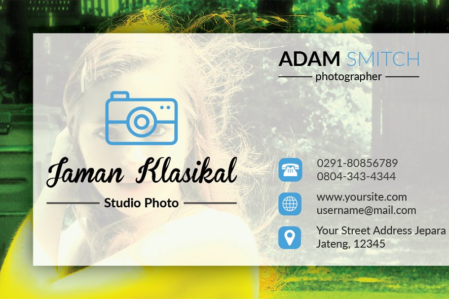 Abstrack Photographer Business Card in Business Card Templates - product preview 3