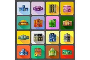 Public buildings icons set