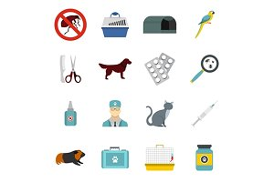Veterinary icons set, flat style