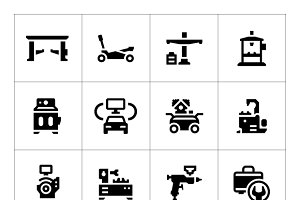 Set icons of car service equipment