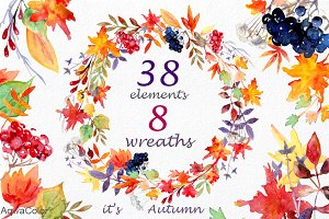 It's Autumn Watercolor Clipart