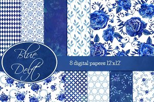 Blue Delft digital papers
