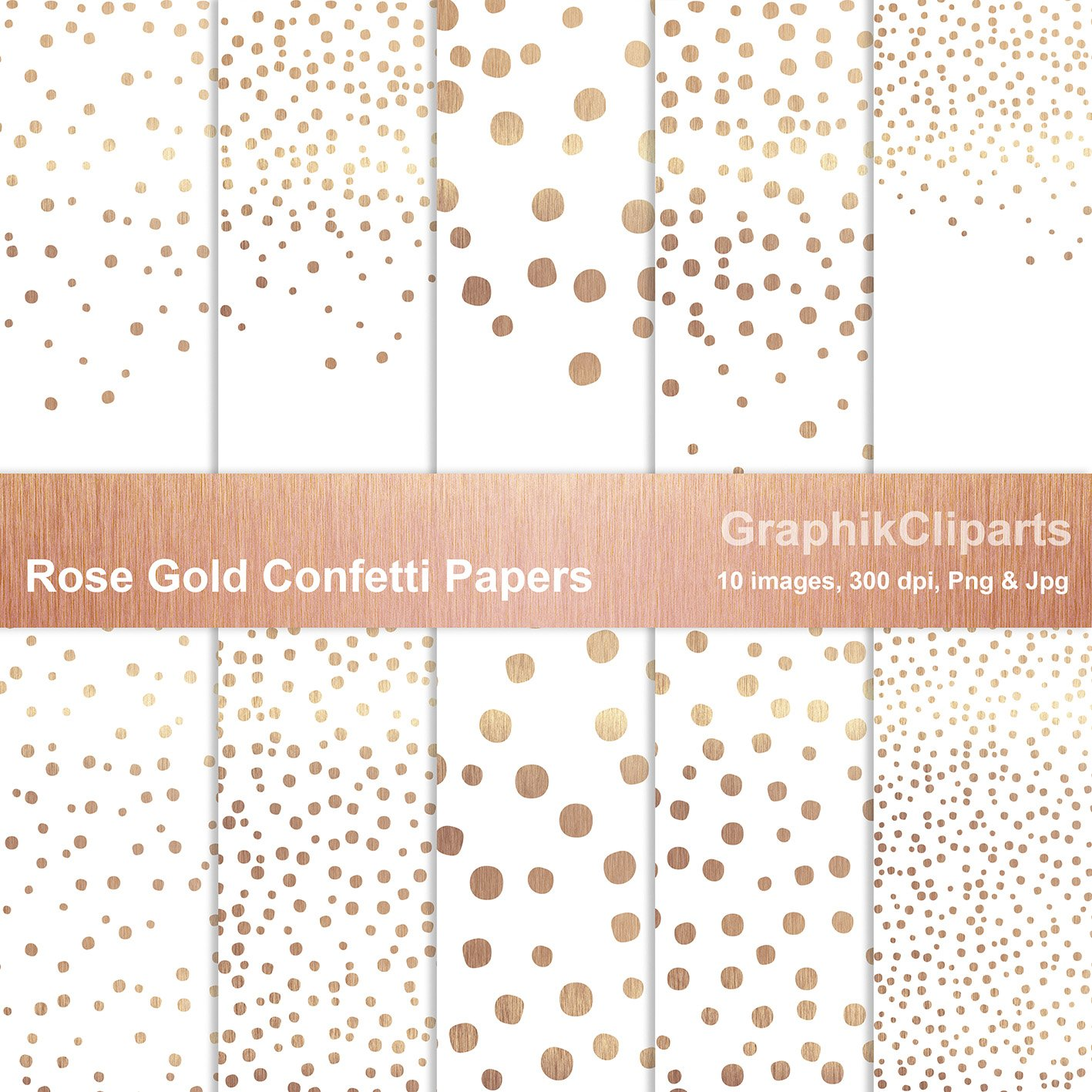 Rose Gold Confetti Papers Png+Jpg