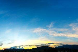 mountain and sunset sky.