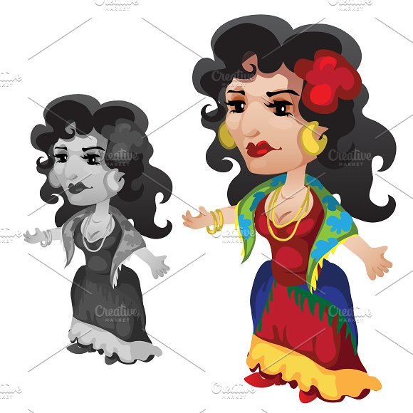 Gypsy woman in bright clothes
