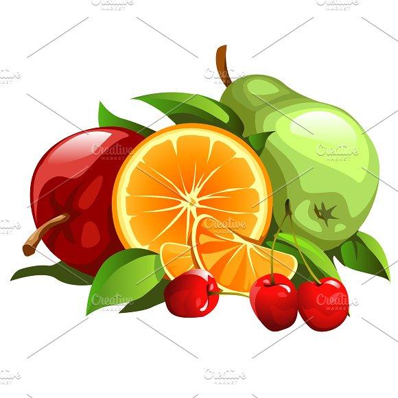 Apple, pear, orange and cherries