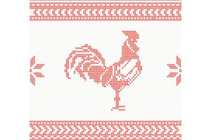 Knitted Rooster Seamless Pattern