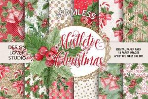 "Watercolor ""Mistletoe Christmas"" DP"