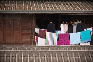 cloths on the rope in old house