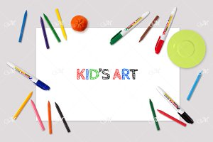 Kid's Art Mock-up. PSD